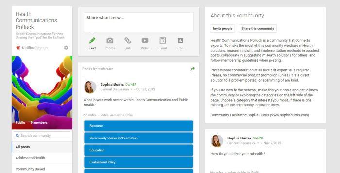 Screenshot, Professional Learning Network. Health Communications Potluck