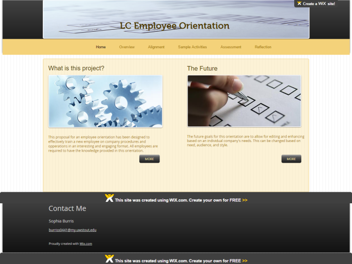 Screen Capture, New Employee Orientation Home Page