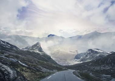 mountain road, winding, fog on horizon and beyond