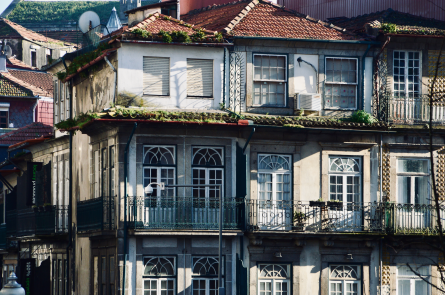 Porto, Portugal. Facade of apartments show traditional verticle architecture of portugal and surrounding areas.